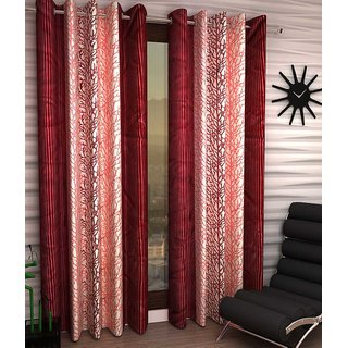 Abhi Home Decor Set of 2 Long Door Eyelet Curtains Printed Maroon