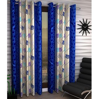 Abhi Home Decor Set of 2 Window Eyelet Curtains Printed Blue