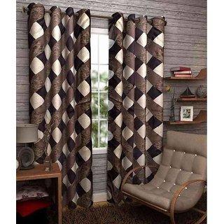 Abhi Home Decor Set of 2 Long Door Eyelet Curtains Printed Coffee