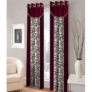 Abhi Home Decor Set of 2 Long Door Eyelet Curtains Printed Maroon