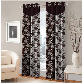 Abhi Home Decor Set of 2 Window Eyelet Curtains Printed Coffee