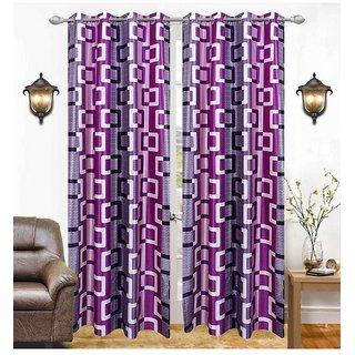Abhi Home Decor Set of 2 Window Eyelet Curtains Printed Purple