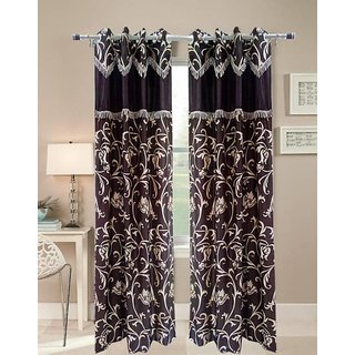 Abhi Home Decor Set of 2 Long Door Eyelet Curtains Printed Coffee