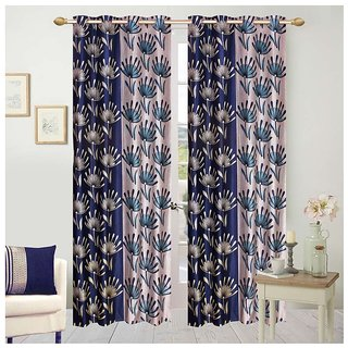 Abhi Home Decor Set of 2 Long Door Eyelet Curtains Printed Blue