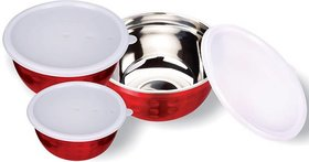 Shubh Shop 3pcs Red Micro Safe Bowl