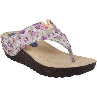 Glitzy Galz Heels for Women purple wedges