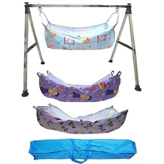 Smart Baby Products Square Pipe Folding Baby Cradle with Three Units of Cotton Hammocks