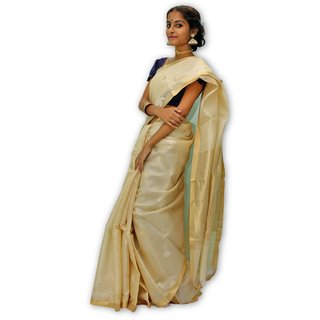 Handloom Collection Cream Dupion Silk,Handloom,Silk,Tussar Silk,Art Silk Woven Design Saree With Blouse