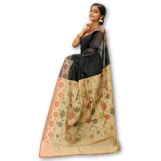 Handloom Collection Black Dupion Silk,Handloom,Silk,Tussar Silk,Art Silk Woven Design Saree With Blouse