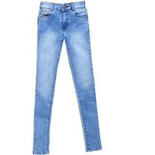 BAT Light Blue Solid Jeans For Girls