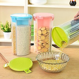 BANQLYN 1pcs Container Bin With Lid For Kitchen Food Rice Pasta Nuts Grains 1500Ml 3 Sections