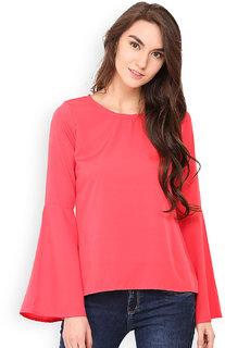 Westrobe Women Pink Plain Bell Sleeve Top