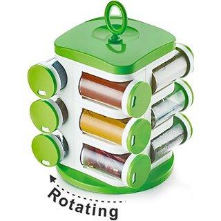 BANQLYN Jony Rotating Spice Rack (masala rack) Green-White Transparent Jony Jar Pop Up Rotating Rack Storage With- 12 Piece set