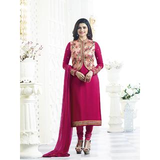 Womaniya Online Pink Georgette Satin Straight Suit (Unstitched)