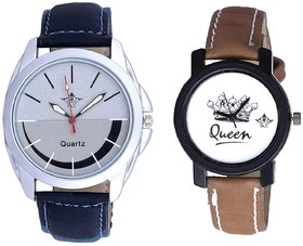 Latest Silver Black Dial And Queen Leather Strap Analog