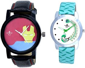 Tony Stark Face And Green Leather Strap Analogue Watch