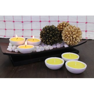 Hosley Set of 6 Highly Scented Citronella Ceramic Diyas (Yellow)