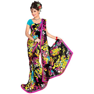Ethnicbasket Multicolor Raw Silk Printed Saree With Blouse