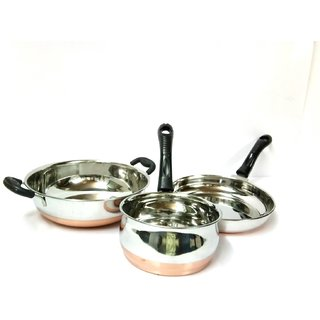 Mahavir Copper Bottom 3 pc Cookware Set