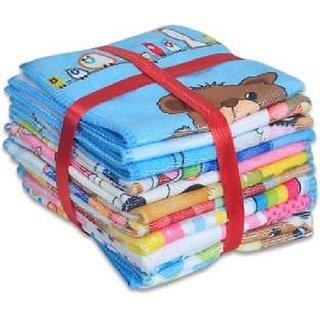 Very Soft Cartoon Printed Face Towel - 12 Pieces (Assorted Colour  Designed)