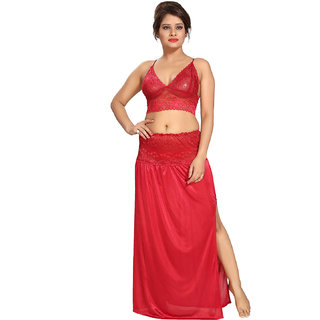 Be You Satin Red Lacey Crop top  Skirt Nighty Set for Women