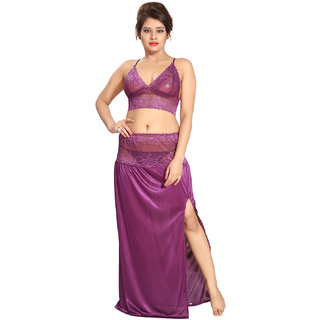 Be You Satin Violet Lacey Crop Top Skirt Nighty Set for Women