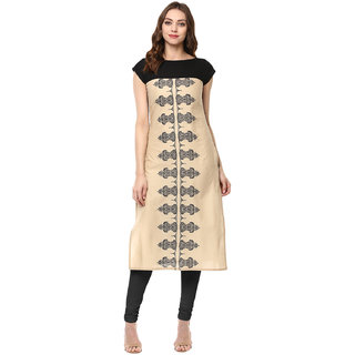 IVES Beige  Printed Cotton Straight Kurti for Women