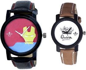 Tony Stark Face And Queen Leather Strap Analogue Watch