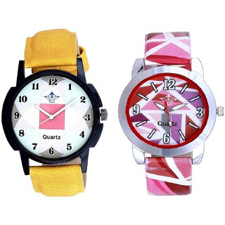 Attractive Square Design And Pink Sep Leather Strap  Analogue Watch By VB International