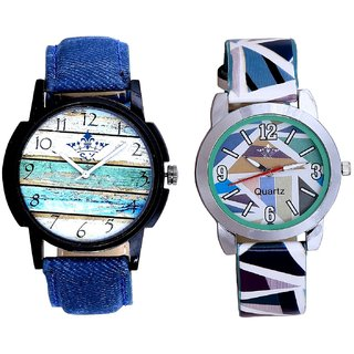 Awesome Colour Art And Sky Blue Sep Leather Strap  Analogue Watch By VB International
