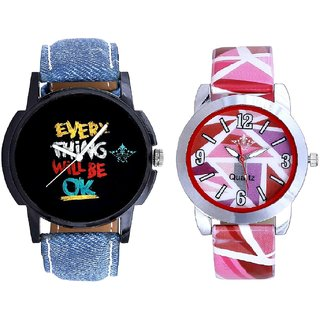 Black Dial Multi Print And Pink Sep Leather Strap  Analogue Watch By VB International