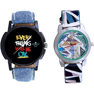 Black Dial Multi Print And Sky Blue Sep Leather Strap  Analogue Watch By VB International