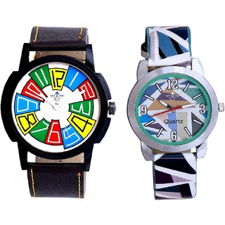 Officially Multi Colour And Sky Blue Sep Leather Strap  Analogue Watch By VB International
