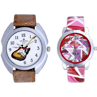 Colouring Guitar And Pink Sep Leather Strap  Analogue Watch By VB International
