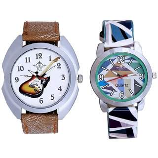 Colouring Guitar And Sky Blue Sep Leather Strap  Analogue Watch By VB International