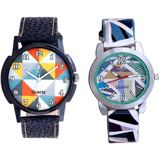Orange Art Colour And Sky Blue Sep Leather Strap  Analogue Watch By VB International