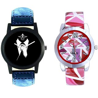 Classical Men And Pink Sep Leather Strap  Analogue Watch By VB International