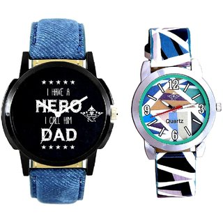 Lovely Dad And Sky Blue Sep Leather Strap  Analogue Watch By VB International