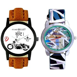 Black Bullet And Sky Blue Sep Leather Strap  Analogue Watch By VB International