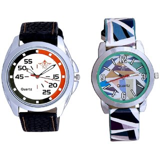 Latest Orange-Black Multi Colour And Sky Blue Sep Leather Strap  Analogue Watch By VB International
