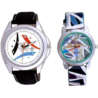 Colourful Tri Fan And Sky Blue Sep Leather Strap  Analogue Watch By VB International