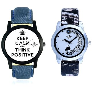 Super Power Of Positive Thinking Round Dial And Black Leather Strap Analogue Watch By VB International