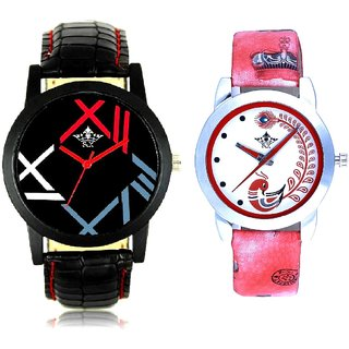 Roman Digit And Red Leather Strap Analogue Watch By VB International