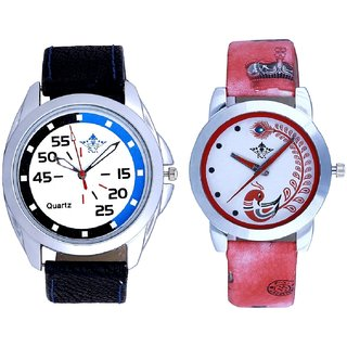 Special Blue-Black And Red Leather Strap Analogue Watch By VB International
