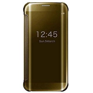 Clear Flip Cover For Samsung Galaxy S7 Edge - Golden