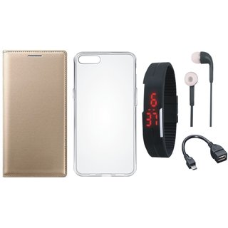 Vivo V9 Cover with Silicon Back Cover, Digital Watch, Earphones and OTG Cable