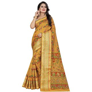 Florence Yellow Poly Silk Printed Saree with Blouse