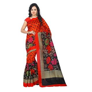 Florence Red Bhagalpuri Printed Saree with Blouse