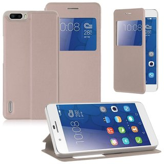 Oppo A57 Flip Cover by ELICA - Golden