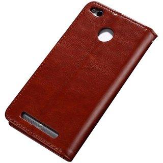 Xiaomi Redmi 3S Prime Flip Cover by Shopizone -Brown